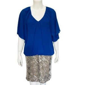 C.LUCE | NWT Royal Blue Gold Sequined Mini Dress L